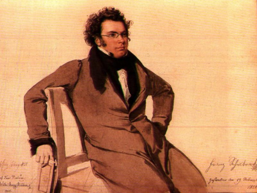 A watercolor painting of Franz Schubert