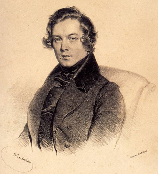 A lithograph of Robert Schumann