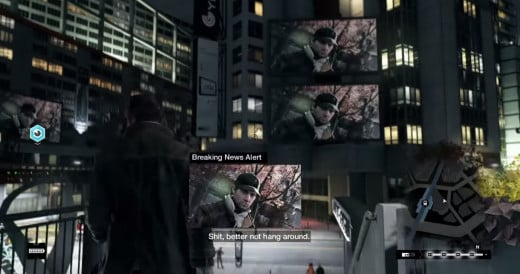 Aiden's picture is displayed to the public on some massive television screens during the In Plain Sight mission of Watch_Dogs, forcing our hacker hero to avoid just about everyone.