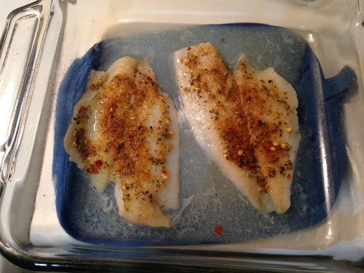 The flounder should have a golden color when done. Flounder is very flaky when done so be careful when removing from the pan.