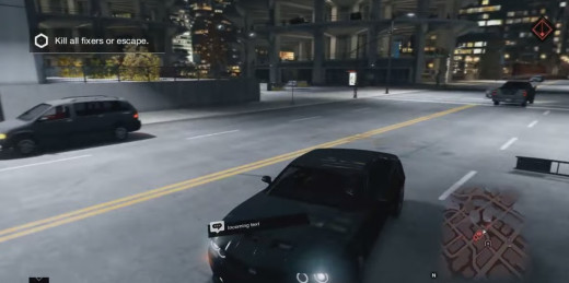 Aiden flees from trouble by car in The Rat's Lair mission of Watch_Dogs.