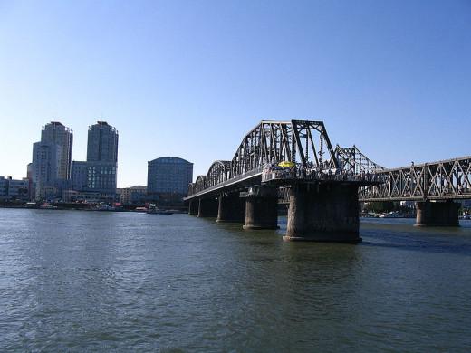 Friendship Bridge between North Korea and Dandong, China.
