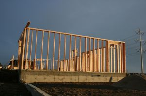 The walls were created with wooden framing