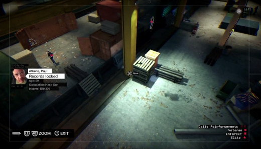 Nicky hides from guards in a container crate during the Little Sister mission of Watch_Dogs.