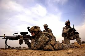 U.S. Army Soldiers Securing Their Area in Combat - Iraq War.