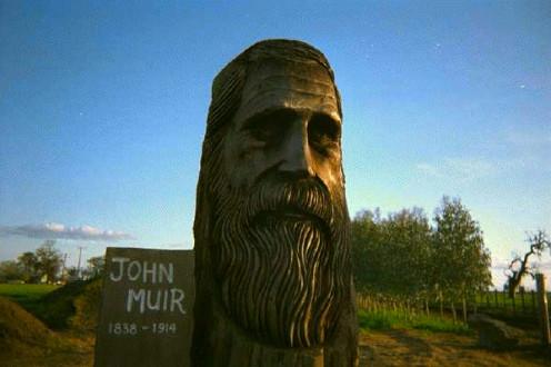 Carving of John Muir