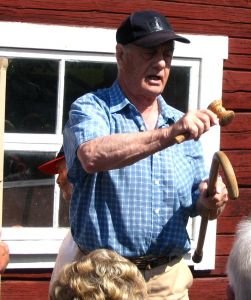 An auctioneer at his trade