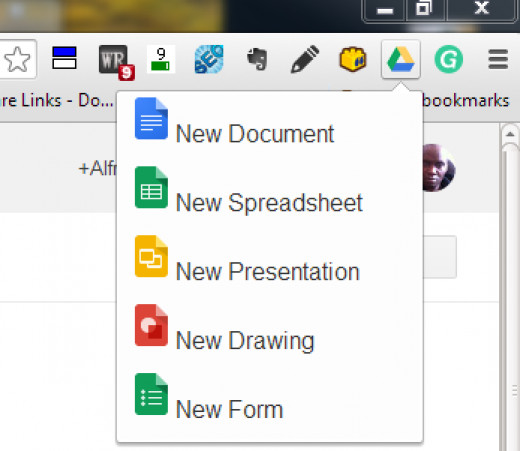 Google Drive extension for creating Google file types