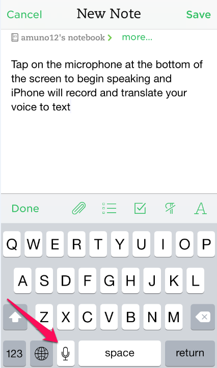 Voice to text conversion in Evernote for iPhone