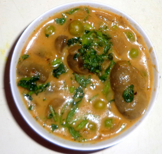 Mutter Mushroom Curry or Green peas Mushroom curry