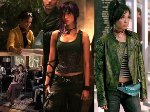Katrina Florence and Kea Wong as Jubilee in X-Men, X2 and X-Men Last Stand