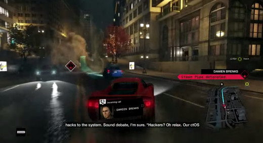 Aiden copes with a city exploding around him in the Sometimes You Still Lose mission of Watch_Dogs. Stupid Damien is having too much fun with Aiden's tricks.