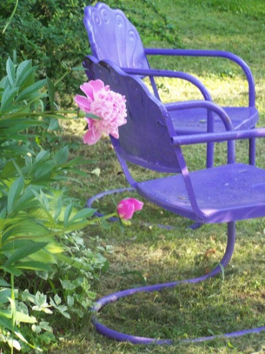 purple chairs with pink flower