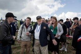 Herbert 'Andy' Anderson in Normandy with College of the Ozarks students Matt, left, and Alyssa.