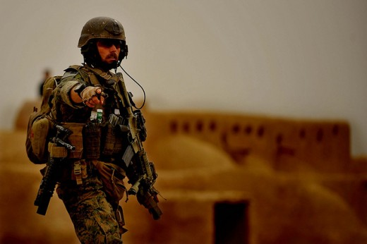U.S. soldier on the ground in Afghanistan