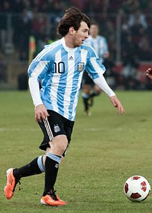 Messi playing for Argentina