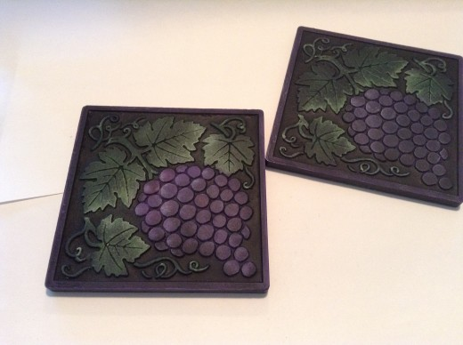 Bisque tiles I painted for this Hub article.
