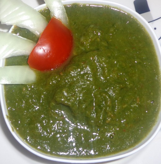 Smashed spinach dhal