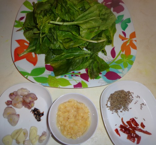 Smashed Spinach Dhal Ingredients