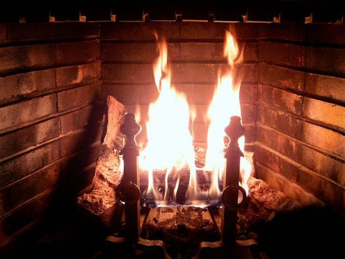 A wood-burning fireplace