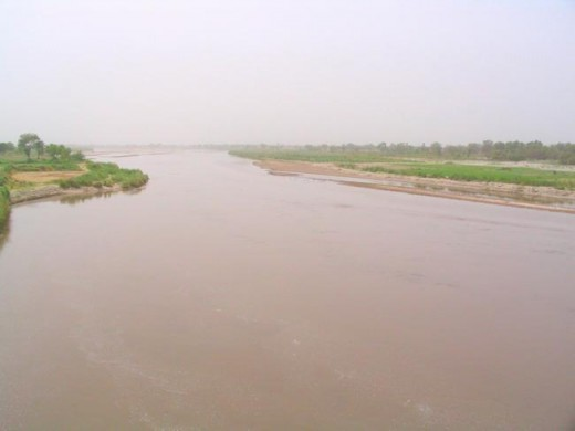 Ghaggar near Chandigadh, flooded in July 2013,