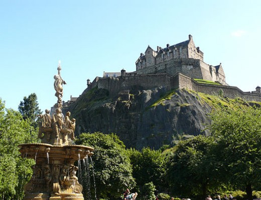 Edinburgh Castle from Ross Fountain in Princess Street Gardens