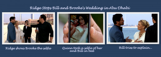 Ridge stops the wedding using the selfie  Quinn took of Bill and Quinn in bed.
