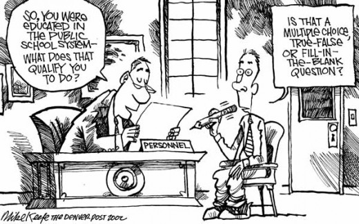 Denver Post cartoon satirizing the effect of standardized tests on public education.