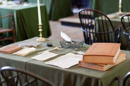 Table with period artifacts in the Assembly Room of Independence Hall in Philadelphia, PA http://creativecommons.org/licenses/by/4.0/