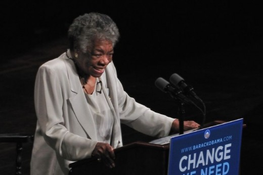Maya Angelou campaigning for Barack Obama in 2008.