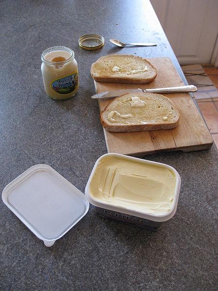 Breakfast-bread, margarine and honey.  Photo by Kai Hendry