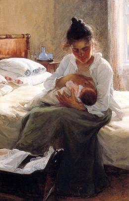 Motherhood (oil on canvas) by Elin Danielson-Gambogi