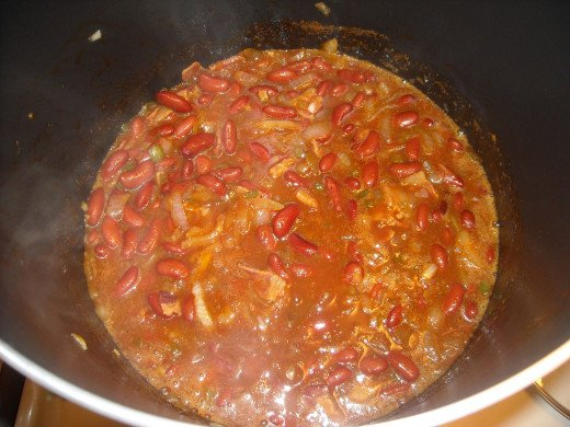 Add beans and sauce ingredients.