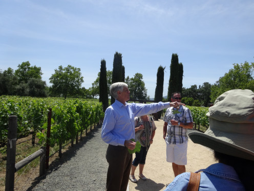 Franciscan Estate Winemaker giving a tour of the vineyards to the trolley guests.