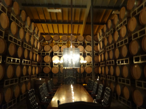 The barrel room at Raymond Vineyards.