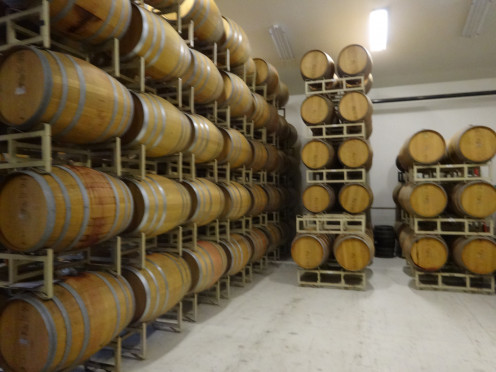 French oak barrels at Bell Wine Cellars.