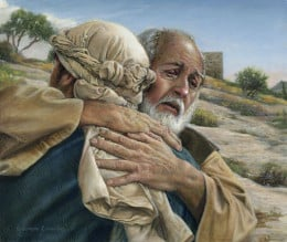 The father was overjoyed that his son had returned home to him.