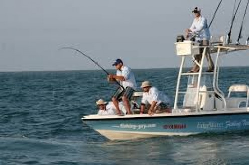 Fishing on a boat can be done as sport or as a relaxing hobby with friends and family.