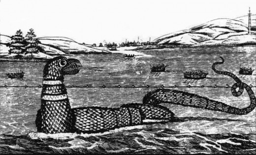 A drawing of the Gloucester Sea Serpent...this is similar to how Chessie has been described.