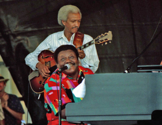 Legendary blues pianist Fats Domino at the New Orleans Jazz & Heritage Festival in 1997