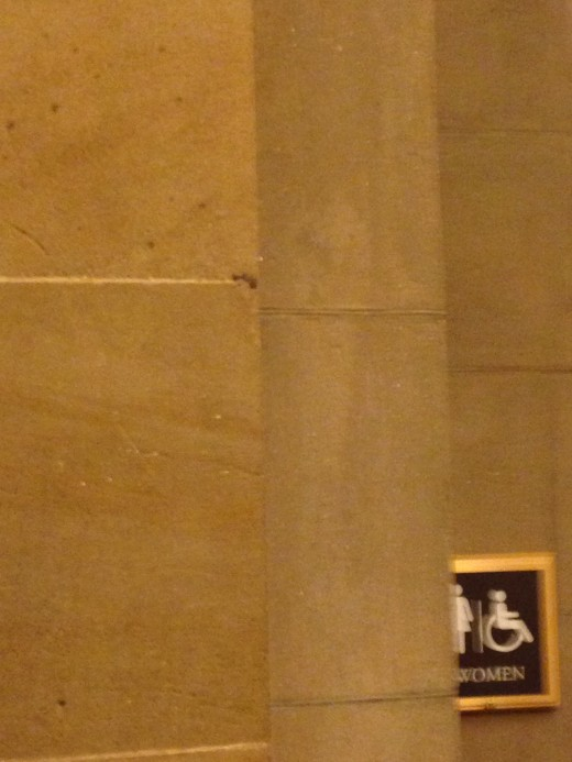 THE WALL NEXT TO SENATOR CALHOUN'S STATURE SHOWING THE MARK OF ANOTHER BULLET.