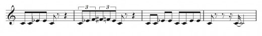 The second 4-bar section (or phrase) of my blues melody