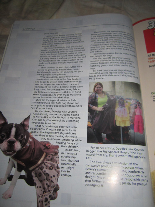 Page 2 of my article on responsible dog fashion and dog couture. You can see Bernie Alfonso Leytte posing with some of her dog clothes.