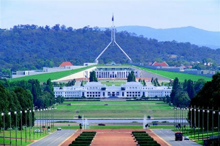 The Australian Parliament House as seen across Anzac Parade