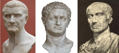 Crassus (left) Pompey (middle) Caesar (right)
