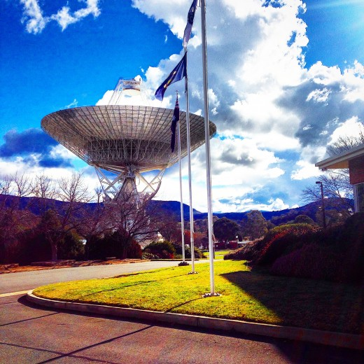 In front of the Visitor Center at Canberra's Deep Space Communication Complex