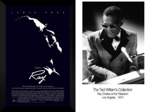 Right: Ray FRAMED Ray Charles Movie Poster: Jamie Foxx Left (11x17) Ray Charles (Ted William's Collection, Palladium, Los Angeles 1973) Music Poster Print