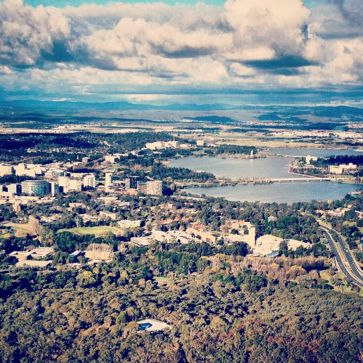 Looking east towards Canberra city from the indoor viewing deck of Telstra Tower on Black Mountain