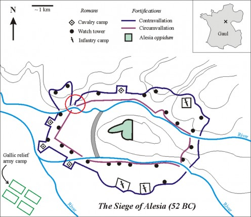 Siege walls for the Battle of Alesia