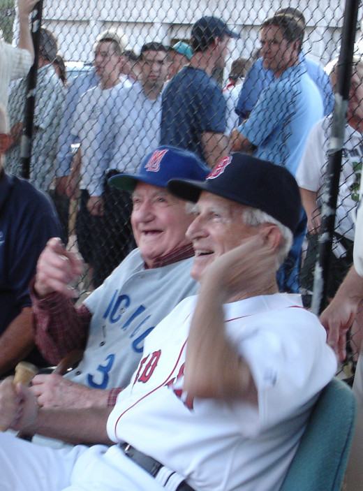 Lennie Merullo, left, played for the 1945 Cubs. With him in this 2008 photo is Johnny Pesky, who played for the 1946 Red Sox.